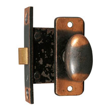 ANTIQUE COPPER MORTISE CUPBOARD LATCH c1905