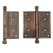"PAIR OF LARGE 5IN BRONZE R&E ""DAMASCENE"" HINGES, C1885"