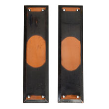PAIR OF MOTTLED OR OXIDIZED COPPER PUSH PLATES, C1910