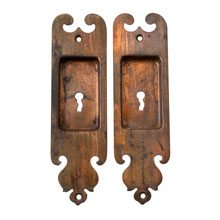 PAIR OF ROMANESQUE POCKET DOOR ESCUTCHEONS C1890
