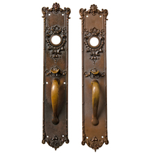 Impressive Classical Revival Cast Brass Door Set c1915