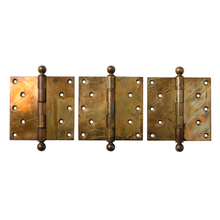 Large Wrought Brass Door Hinges c1900