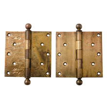 Well-Worn Wrought Brass Door Hinges c1910