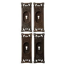 Set of Ornate Cast Iron Columbia Pocket Door Pulls c1890