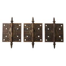 Set of 3 Large Victorian Door Hinges w/ Steeple Tips c1880s