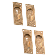 Ornate Cast Bronze Pocket Door Pulls c1880s