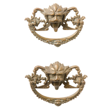 Pair of Rare Brass Green Man Bail Pulls c1880s