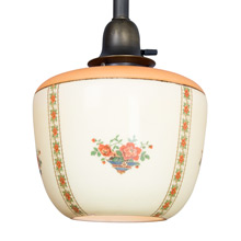 Classic Pipe Pendant w/Delicately Decorated Shade, c1928