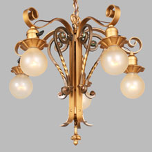 Curly, Gold-Painted Bare Bulb Fixture, c.1925