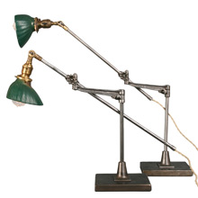 Pair of Adjustable O.C. White Lamps w/X-Ray Shades, c1915