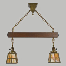 Mission 2-Light Pendant w/Stained Fir Spreader Bar, c1910