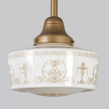 Gilt Schoolhouse Pendant w/Ornate Decorated Shade, c1928