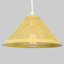 Custom Perforated Metal Cone Pendant in Solar Yellow