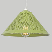 Custom Perforated Metal Cone Pendant in Aurora Green