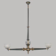 Killer Neo-Grec Ebony Gilt 2-Light Gas Chandelier, c1875