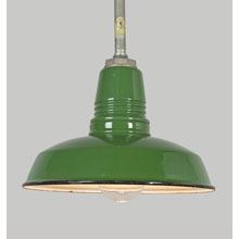 "12"" Green Enamel Warehouse RLM Pendant, c1950"