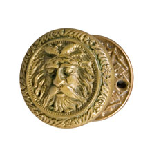 "Cast Bronze ""Green Man"" Knob Set, c1890"