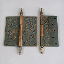 "Pair Bronze-Plated Iron 6"" Steeple-Tip Hinges, c1885"