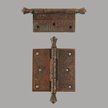 "Pair 3-1/2"" Hinges in Oriental Pattern by Branford, c1885"