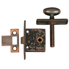 Antique Copper Cupboard Latch w/ strike, c1905