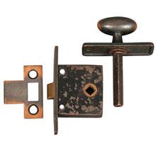 Antique Copper Cupboard Latch w/ strike, c1905