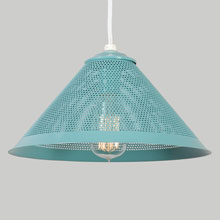 Custom Perforated Metal Cone Pendant in Neptune Blue