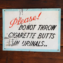 "Charming Hand-Painted Bathroom ""Butts"" Sign, c1950"