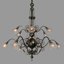 Super-Spectacular 12-Light Commercial Chandelier, c1905