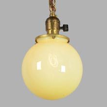 Classic Chain Pendant w/Straw Opalescent Globe, c1915