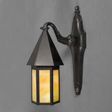 Black Enamel Elongated Revival-Style Porch Light, c1930