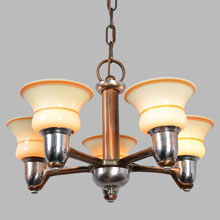 Simple Streamline Two-Tone Chandelier w/Lined Shades, c1935