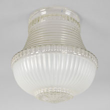 "White & Clear 4"" Kitchen or Bath Shade, c1940"