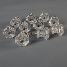 Set of 10 Octagonal Decorative Clear Glass Knobs, c1915