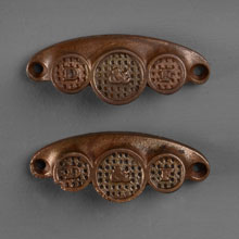 Pair of D&F Cast Iron Bin Pulls, c1885