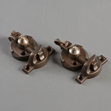 Pair of Cast Iron Lever Sash Locks, Pat. July 2, 1878