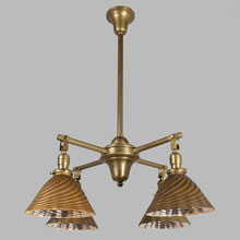 Plain 4-Arm Fixture w/Gold X-Ray Silvered Shades, c1915