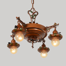 Richly Polychromed Eclectic Pan Chandelier, c1920