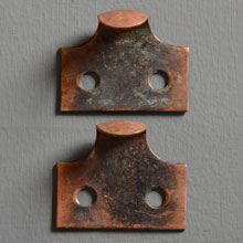 Pair of Oxidized Copper Sash Lifts, c1905