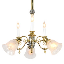 Late Victorian Empire Combination Chandelier, c1900