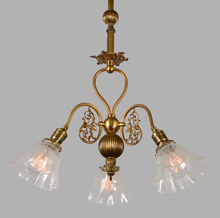 Truly Lovely 3-Arm Empire Chandelier, c1896