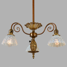 Captivating Gilt 3-Arm Empire Chandelier, c1894