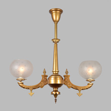 Gilt Neo-Grec 2-Arm Gasolier w/Star Shades, c1872