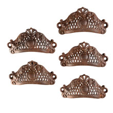 Set of 5 Cast Iron Rococo Filigree Bin Pulls, Pat. 1865