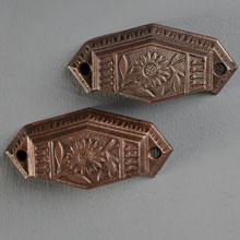Pair of Aesthetic Sunflower Bin Pulls, c1882