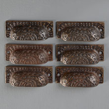 Set of 6 Aesthetic Movement Cast Iron Bin Pulls, c1885