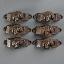 "Set of 6 Cast Iron ""Doggie"" Bin Pulls, c1875"