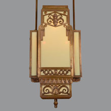 Pair Astounding Bronze Art Deco Commercial Pendants, c1930