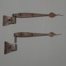 Pair of Rustic Hand-Wrought Iron Rattail Hinges, c1925