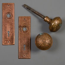 "Corbin ""Ceylon"" Wrought Bronze Aesthetic Door Set, c1890"