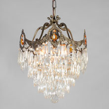 "Elegant 14"" Tiered Crystal Chandelier, c1925"